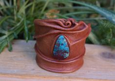 Intrepid Jewelry - Leather Cuff Bracelet with Brown and Blue Sea Sediment Jasper, $55.00 (http://www.intrepidjewelry.com/products/leather-cuff-bracelet-with-brown-and-blue-sea-sediment-jasper.html)