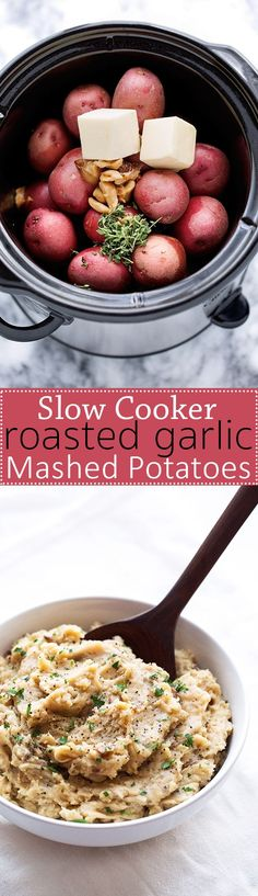 Roasted Garlic Mashed Potatoes - Learn how to make roasted garlic mashed potatoes in the slow cooker! Perfect for Thanksgiving!