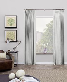 The waterfall look of Tailored Pleat Drapes creates a lengthening illusion for any room. Fabric drapery is all hand-sewn in our workroom for the highest quality possible. Custom widths, lengths and lining options ensure a perfect fit. View our entire drapery collection online.