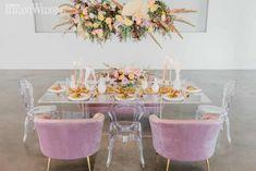 Romantic Wedding Theme with Florals | ElegantWedding.ca Acrylic Chair, Table Setting Inspiration, Head Tables, Wedding Place Settings, Dusty Rose, Wedding Vendors, Wedding Centerpieces, Floral Arrangements, Florals