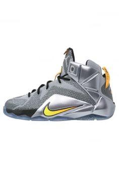 Nike Performance - LEBRON XII  - Obuwie do koszykówki - wolf grey/bright citrus/black