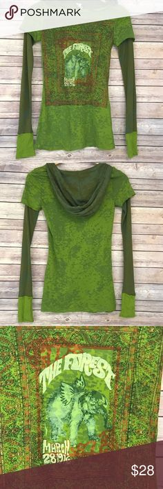 """Free People Hooded Burnout Thermal Elephant Tee •Details• Cute Top!  Semi sheer Burnout material with thermal sleeves and hood. Cute graphic on front.  •Condition• EUC, no flaws to note •Material• 50% cotton, 50% polyester. Slim fit •Color• green  All measurements are taken while item is laying flat and are approximate.  •Armpit to Armpit• 15"""" •Length• 28""""  I consider ALL Offers! Don't be shy! No Trades Free People Tops Tees - Long Sleeve"""