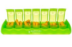 Amazon.com: SURVIVE Vitamins 7 Day Pill Organizer Plastic Pill Box Translucent Lime Color 1 Piece Of This Pill Case: Health & Personal Care Opening and closing is simple but solid and safe.