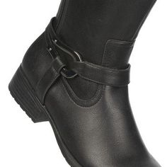 Let out your inner warrior with the Xena wide calf riding boot from LifeStride.Faux leather upper in a wide calf boot style with a round toeSide zip entryStrap and metal ring decoration13 and 7/8 inch shaft height, 14 and 13/16 inch circumferenceSmooth lining, cushioning insoleFeatures SoftSystem(R) comfort elements for all-day comfortTraction outsole, 1 and 1/4 inch heel