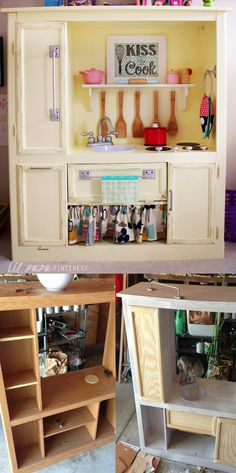 DIY PLAY KITCHEN from entertainment center - Found the cabinet off Craigslist for $20. Built doors from scrap wood. All the hardware was found at Habitat for Humanity store. Lots of labor but well worth our little ones smile on Christmas morning!