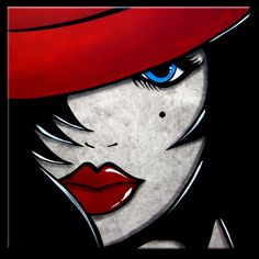 Face à Face - Original peinture abstraite moderne pop Art contemporain grand chapeau Portrait rouge FACE par Fidostudio