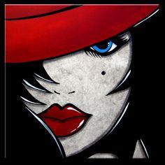 Face à Face - Original peinture abstraite moderne pop Art contemporain grand chapeau Portrait rouge FACE par Fidostudio