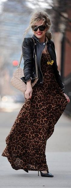Leopard maxi with leather