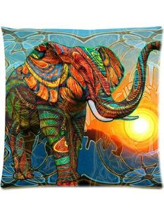 Honey Cushion Cover Aztec Elephant Decorative Pillow Case Protector 18x18 Inch ❤ Fitting Case