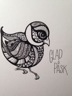 Påskkort zentangle #easter, #drawing, zentangle, #gladpåsk