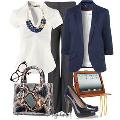 """""""All in a Day's Work"""" by angkclaxton on Polyvore LOVE the Stella & Dot necklace as well as the navy blazer"""
