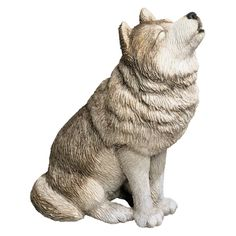 Sandicast Mid Size Gray Wolf Sculpture - Howling - MS502