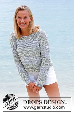 Tropical sea / DROPS - free knitting patterns by DROPS design - DROPS sweater in saffron and cotton viscose with double pearl pattern and stripes. Free patterns by - Sweater Knitting Patterns, Cardigan Pattern, Knit Patterns, Free Knitting, Drops Design, Sweater Making, Crochet Clothes, Knit Crochet, Knitting Projects