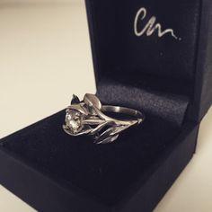 Leaf, rose, flower engagement ring made from platinum