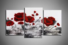 Abstract painting Red poppies flower Oil painting by ArtColorSpace