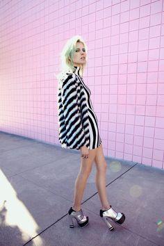 Wild Stripe Faux Fur Coat, Parallel Lines Dress, Vesper Platform Bootie