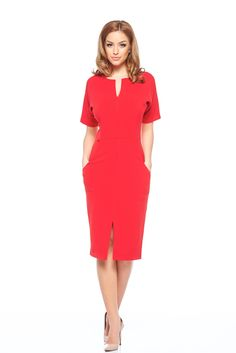 Fofy Fashionable Red Dress, short sleeves, zipper fastening, with pockets, slightly elastic fabric