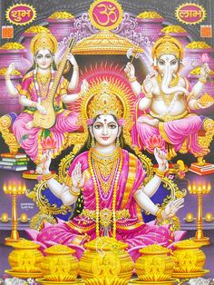 Lakshmi, Ganesha, Saraswati poster-reprint on paper-(20X16 inches) #7213