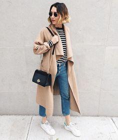#nyc #camelcoat #outfit #stripes #denim