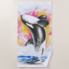 Breaching Orca Colorful Watercolor Beach Towel - diy cyo customize create your own personalize