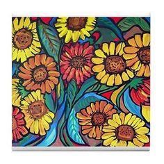 Mattonelle+di+ceramica+di+arte+popolare+colorato+divertente+Whimsical+girasoli