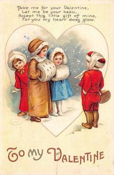 Adorable Little Girls Valentine Postcard Ellen Clapsaddle 1913 B 157