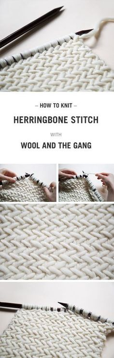 free tutorial on how to knit the herringbone stitch. Video included A free tutorial on how to knit the herringbone stitch. -A free tutorial on how to knit the herringbone stitch. Knitting Stitches, Free Knitting, Knitting Patterns, Crochet Patterns, Knitting Needles, Knitting Humor, Afghan Patterns, Knitting Projects, Crochet Projects