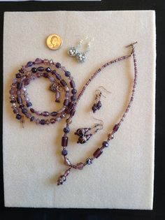 Nests for DeeDee and a purple set from beads that AnneMarie Hoffman gave me. The bracelet on the left can double as another necklace; cool. ✨✨