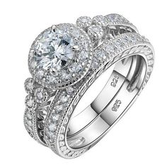 1.2 Ct Solid 925 Sterling Silver AAA Zirconia Halo Wedding Ring Sets Engagement Band Classic Jewelry Free Shipping