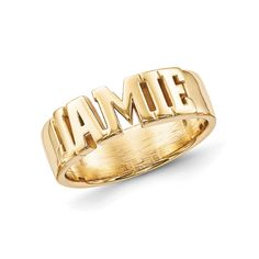 yellow gold plated sterling silver block letters name ring is made to order. Capital letters only. Engrave up to nine letters, numbers or symbols. Name Rings, Block Lettering, Men's Shoes, Sterling Silver Rings, Jewelery, Initials, Plating, Rings For Men, Names