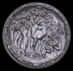 Old Black Glass Deer Button Large by KPHoppe on Etsy
