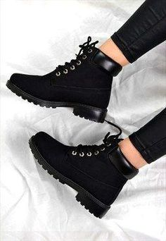 emily lace up flat heel grip ankle boots black ankle black boots emily delivers online tools that help you to stay in control of your personal information and protect your online privacy. Black Boots Outfit, Ugg Boots Outfit, Winter Boots Outfits, Black Shoes, Outfit Winter, Winter Shoes, Black Lace Up Boots, Outfit Jeans, Black Winter Boots