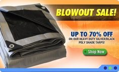"30x40 All Season Heavy Weight Silver Black Poly Tarp by Black Silver Tarps. $99.99. ""HEAVY-DUTY"" ALL SEASON POLY TARPS The ""heavy-duty"" All Season poly tarps are manufactured with extra strength 14x14 weave material. This material is treated with special UV inhibitors that extend the life of the tarp when used outdoors. The material is also water and mildew proof. Rust proof grommets are spaced every 2' and plastic tab reinforcements are placed at every corner to make..."