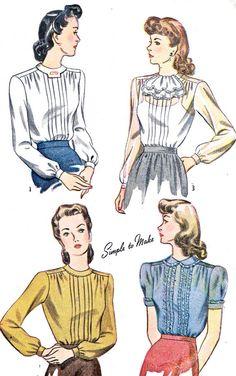 1940s Womens Blouse Pattern Simplicity 4556 Pin by paneenjerez, $20.00