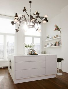white corian and Dear Ingo' lamp from Ron Gilad