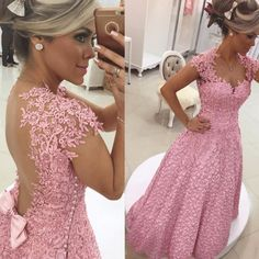 Sexy Cap Sleeve Prom Dress,Appliques Prom Dress, Sexy Evening Dress,2017 Backless Prom Dress,Wedding Party Dress