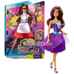Mattel Year 2015 Barbie Spy Squad Series 12 Inch Doll - Secret Agent TERESA with 2 Outfits (Cook & Ball Gown), Spin Kick Action Plus Tray & Glasses