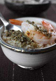 couscous with mint pesto and shrimp  | A Moroccan Recipe Journal