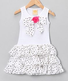 Loving this Mia Belle Baby White Polka Dot Bow Ruffle Dress - Toddler & Girls on Little Girl Outfits, Little Girl Fashion, Little Girl Dresses, Fashion Kids, Kids Outfits, Girls Dresses, Cute Outfits, Ruffle Dress, Baby Dress