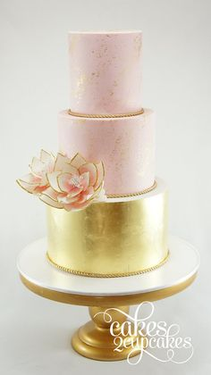 Gold and blush wedding cakes