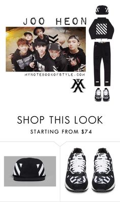 """""""Inspired by Joo Heon in Monsta X's Trespass MV"""" by the92liner ❤ liked on Polyvore featuring Off-White, NIKE, kpopoutfit, Jooheon, inspiredbyoutfit and monstax"""