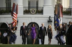 KING: Republicans can never say they care about family values again for embracing Trump and shunning the Obamas   President Obama, First Lady Michelle Obama, Vice President Joe Biden, and Jill Biden walk together at the White House.