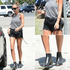Stripes and black shorts