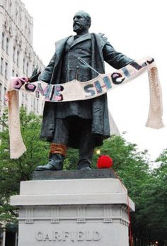 Yarn bombing. @Hannah Crisler we should have yarn bombed the Grier statue.