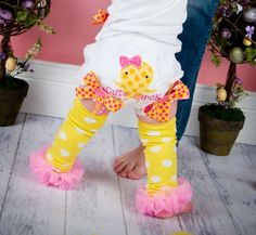 Cute Chick Bloomers Pink and Yellow Spring by whimsytots on Etsy, $23.00
