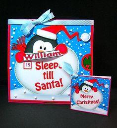 Card Gallery - 3D Xmas Penguin Sleeps Till Santa Countdown Moveable Card