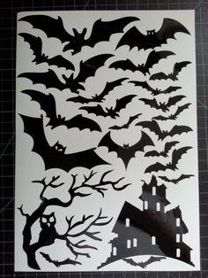 halloween window cling set of bats a tree and haunted house 8 x sheet - Halloween Window Decals
