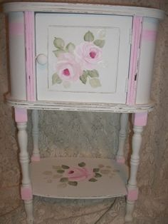 Shabby Cottage Chic hp roses Vintage table-shabby,cottage,chic,hp roses,vintage,victorian,pink,pink roses,hp roses,hand painted furniture,home