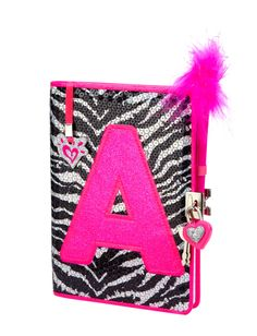 Girls Clothing | Journals & Writing | Sequin Zebra Initial Journal | Shop Justice