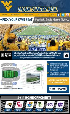 west virginia university football single game ticket email featuring pick your own seat map